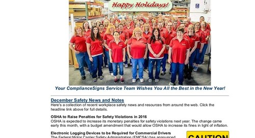 December 2015 ComplianceSigns Connection Workplace Safety Newsletter