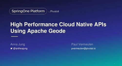 High Performance Cloud Native APIs Using Apache Geode