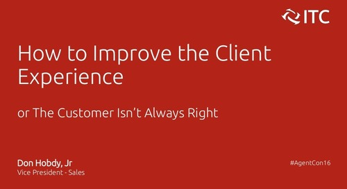 How to Improve the Client Experience - Don Hobdy Jr.