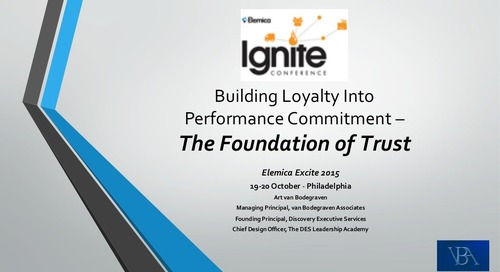 "Ignite 2015 NA Collaboration Breakout Session - ""Good to Great vs. Bad to Better - Trust in Relationships"""