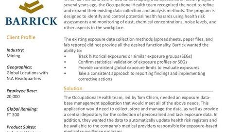 Case study: Barrick Gold Industrial Hygiene Software Implementation