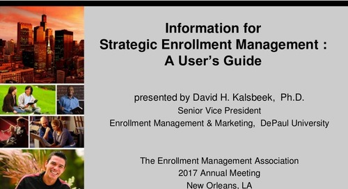 Information for Strategic Enrollment Management: A User's Guide