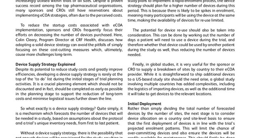 Developing an eCOA Device Supply Strategy: The Vital Considerations for a Global Clinical Trial