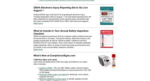 July 2017 Connection Workplace Safety Newsletter