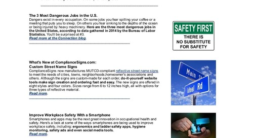 June 2016 ComplianceSigns Connection Workplace Safety Newsletter