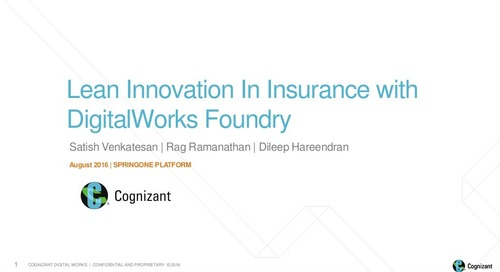 Lean Innovation in Insurance with Cognizant Digital Foundry