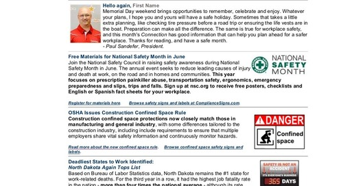 May 2015 ComplianceSigns Connection Workplace Safety Newsletter