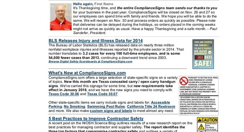 November 2015 ComplianceSigns Connection Workplace Safety Newsletter