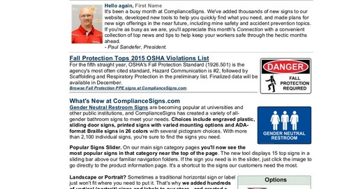 October 2015 ComplianceSigns Connection Workplace Safety Newsletter