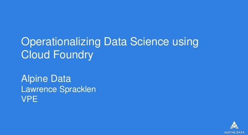 Operationalizing Data Science Using Cloud Foundry
