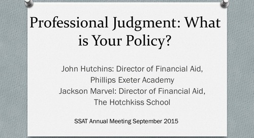 Professional Judgment in Financial Aid: What is Your Policy?