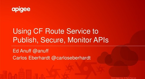 Publish, Secure, and Monitor APIs with Cloud Foundry Route Services