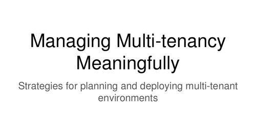 Managing Multi-Tenant SaaS Applications at Scale
