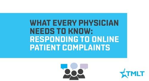 Responding to online patient complaints