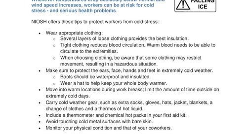 Safety Tip: Prevent Cold Stress Illness and Injury