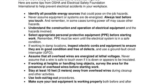 Safety Tip: Working with Electricity