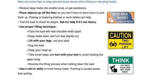Safety Tip: Safe Lifting to Avoid Back Injuries