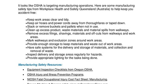 Manufacturing Safety Tips