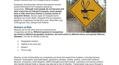 Safety Tip: Protect Workers from Mosquito-borne Diseases