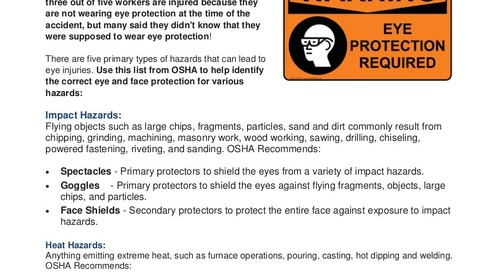 Safety Tip: Selecting the Right Eye Protection for 5 Top Eye Hazards