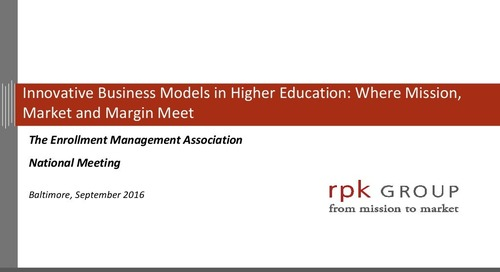 Innovative Business Models in Higher Education