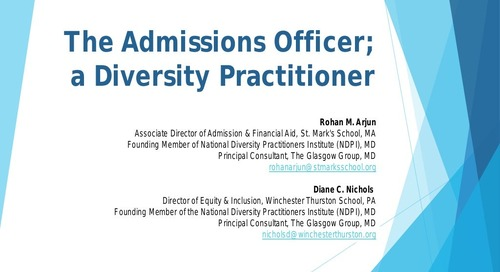 The Admission Officer as a Diversity Practitioner