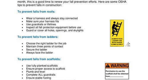 Safety Tip: Construction Fall Prevention