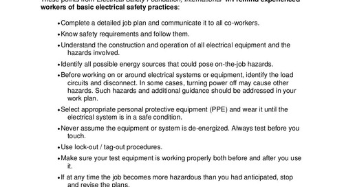 Safety Tip - Electrical Safety in the Field
