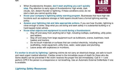 Safety Tip: Lightning Safety on the Job