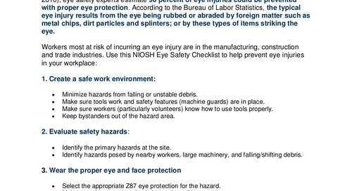 Safety Tip - Workplace Eye Safety Checklist