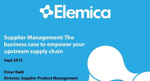 "Ignite2015 EU Procurement Breakout ""The Business Case to Empower Your Upstream Supply Chain"" Slides"