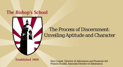 The Process of Discernment: Unveiling Aptitude and Character