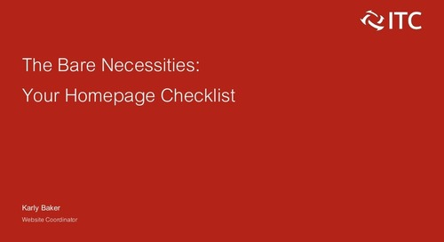 The Bare Necessities: Your Homepage Checklist