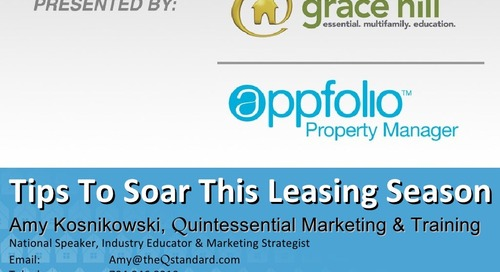 """Tips to Soar This Leasing Season"" featuring Amy Kosnikowshi"