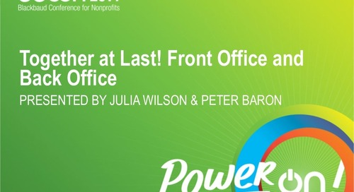 Together at Last: Front Office and Back Office