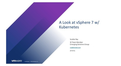 vSphere with Kubernetes Virtual Event- June 16, 2020