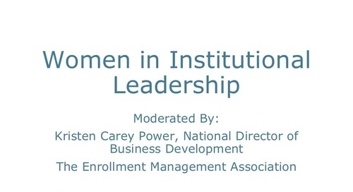Women and Institutional Leadership