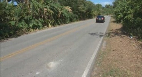 Dededo mayor installs speed bumps on popular NCS road