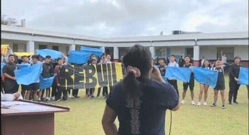 Sharks rally for their school to be rebuilt