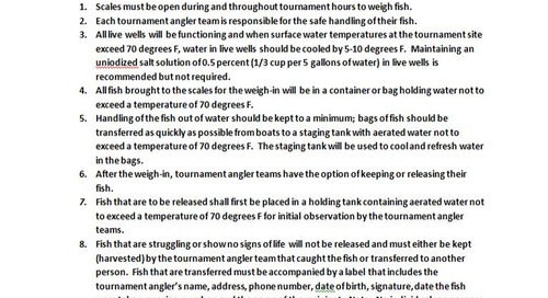 Fish Handling, Tournaments