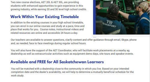 Sun West School Division Launches Leading-Edge Online courses in Partnership with Industry. Signals a Future Trend