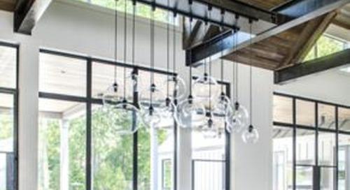 Custom Crystal Glass Cluster Hangs Inside Rustic Atlanta Home