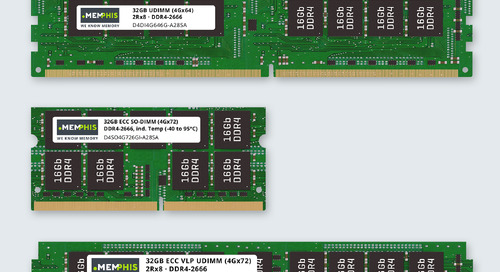 Memphis Releases 32GB DDR4 UDIMMs & SO-DIMMs with or without ECC, Optional VLP and Industrial Temperature