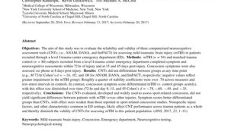 Prospective, Head-to-Head Study of Three Computerized Neurocognitive Assessment Tools Part 2: Utility for Assessment of Mild Traumatic Brain