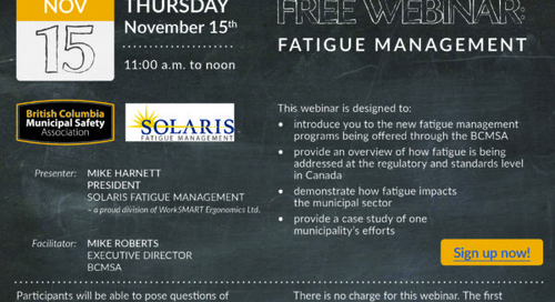 Nov 15: Free Webinar – Fatigue Management