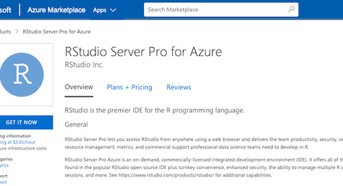 RStudio Server Pro is now available on Microsoft Azure Marketplace
