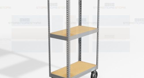 Rolling File Box Shelving Carts on Mobile Dolly Base