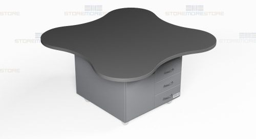 Mobile Island Desk Workstations with Round & Square Tops