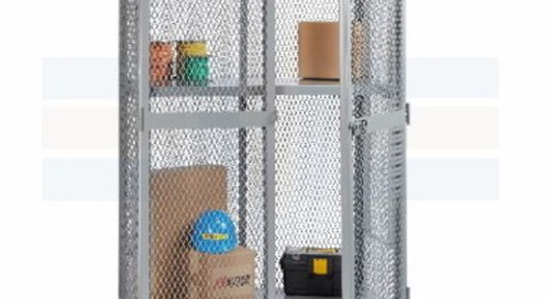 Vented Mobile Storage Lockers Wire Mesh Utility Carts with Security Doors