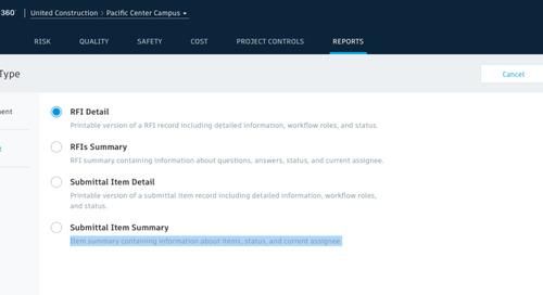 BIM 360 Reports – new Project Management reports